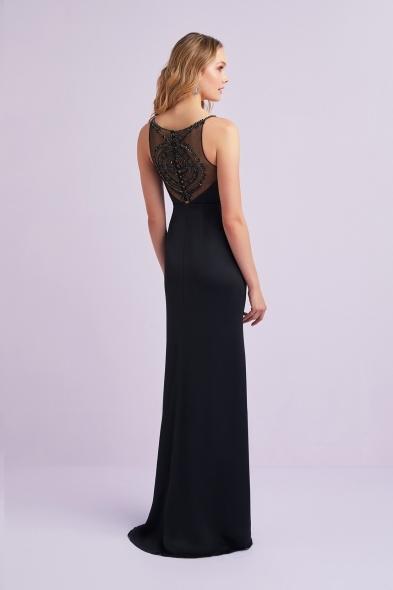 Viola Chan - Siyah İnce Askılı Kalp Yaka Yırtmaçlı Saten Uzun Elbise (1)