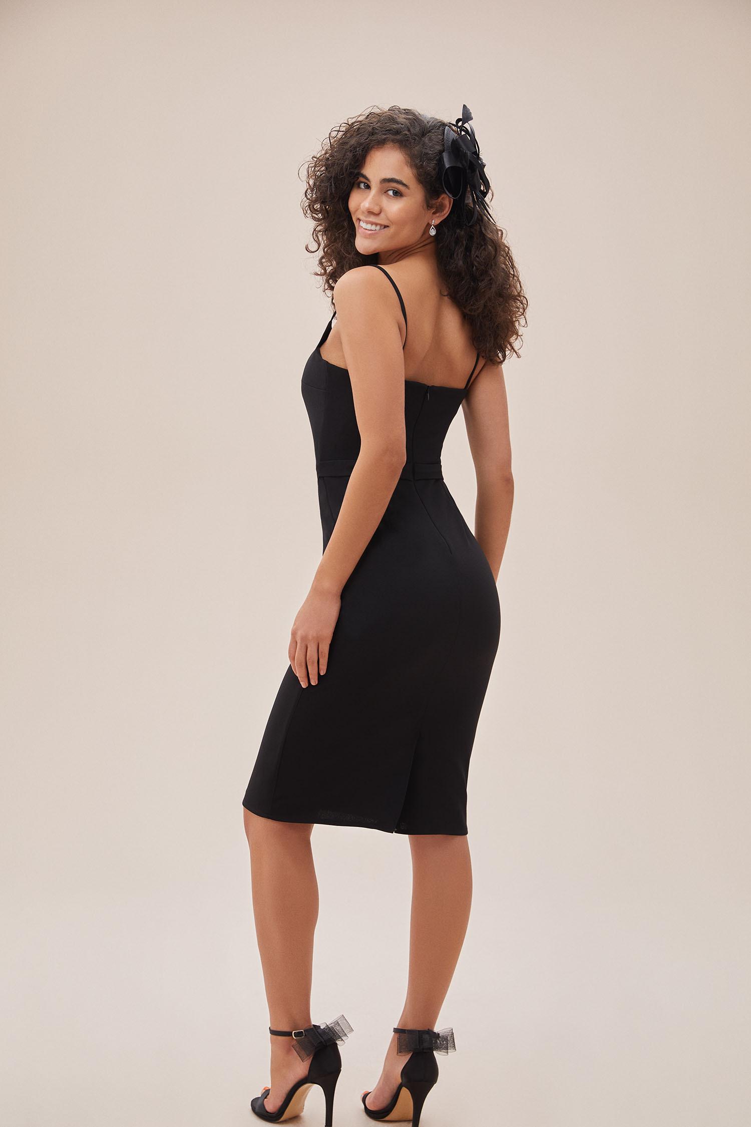 OLEG CASSINI TR - Siyah İnce Askılı Midi Boy Krep Elbise (1)