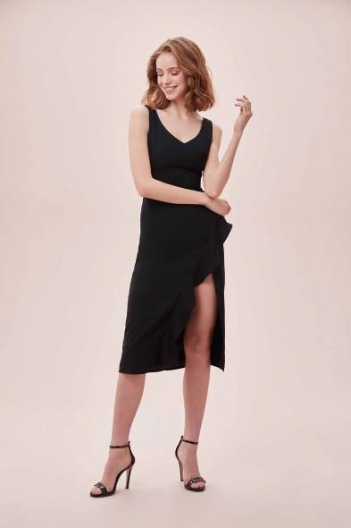 OLEG CASSINI TR - Siyah Kalın Askılı Yırtmaçlı Midi Boy Krep Elbise (1)