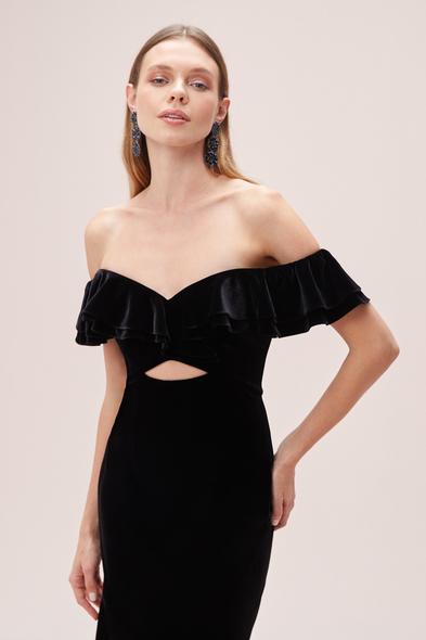 Alfa Beta - Siyah Kayık Yaka Kadife Önü Kısa Arkası Uzun Elbise