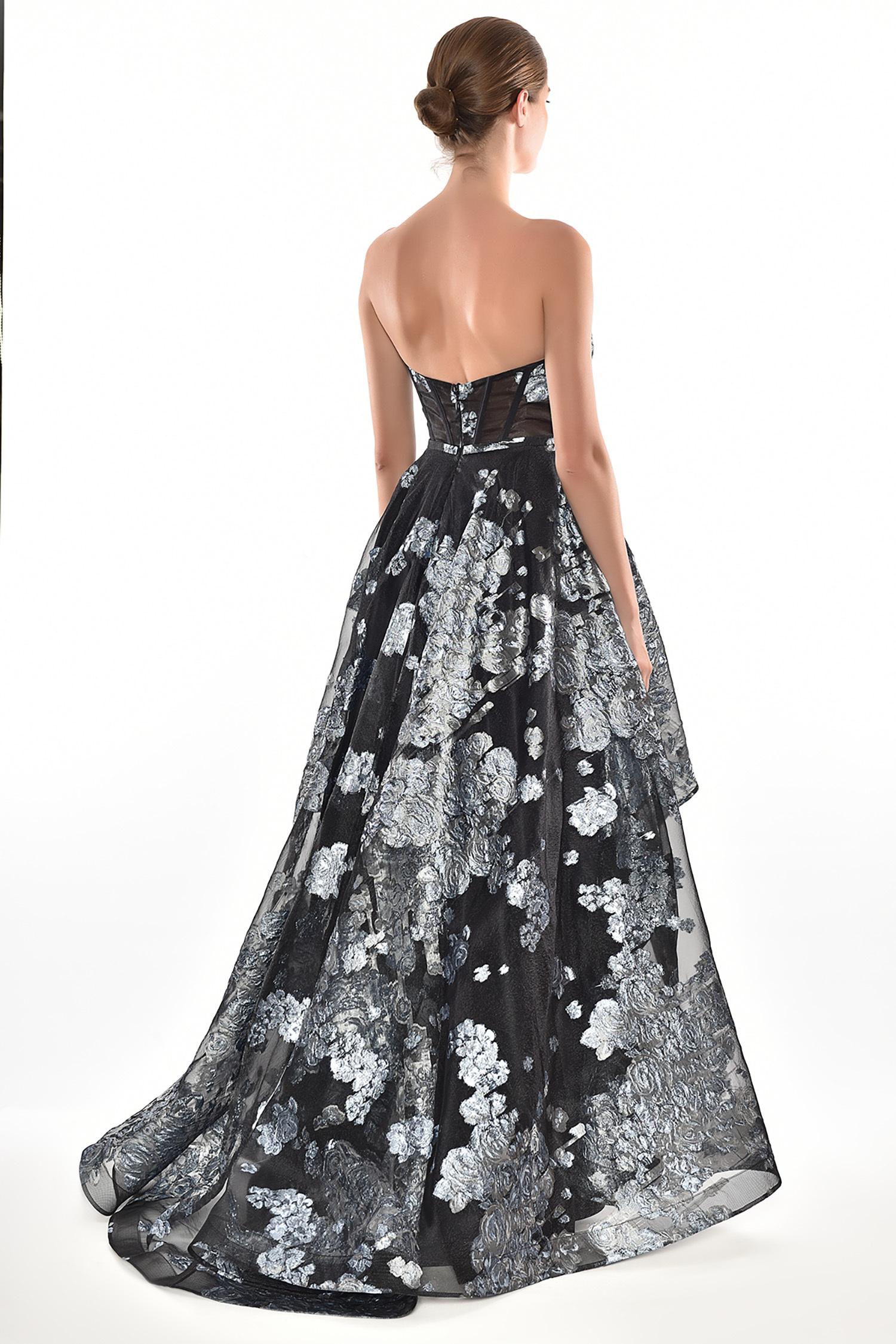 Alfa Beta - Siyah Mavi Desenli Straplez Önü Kısa Arkası Uzun Abiye Elbise (1)
