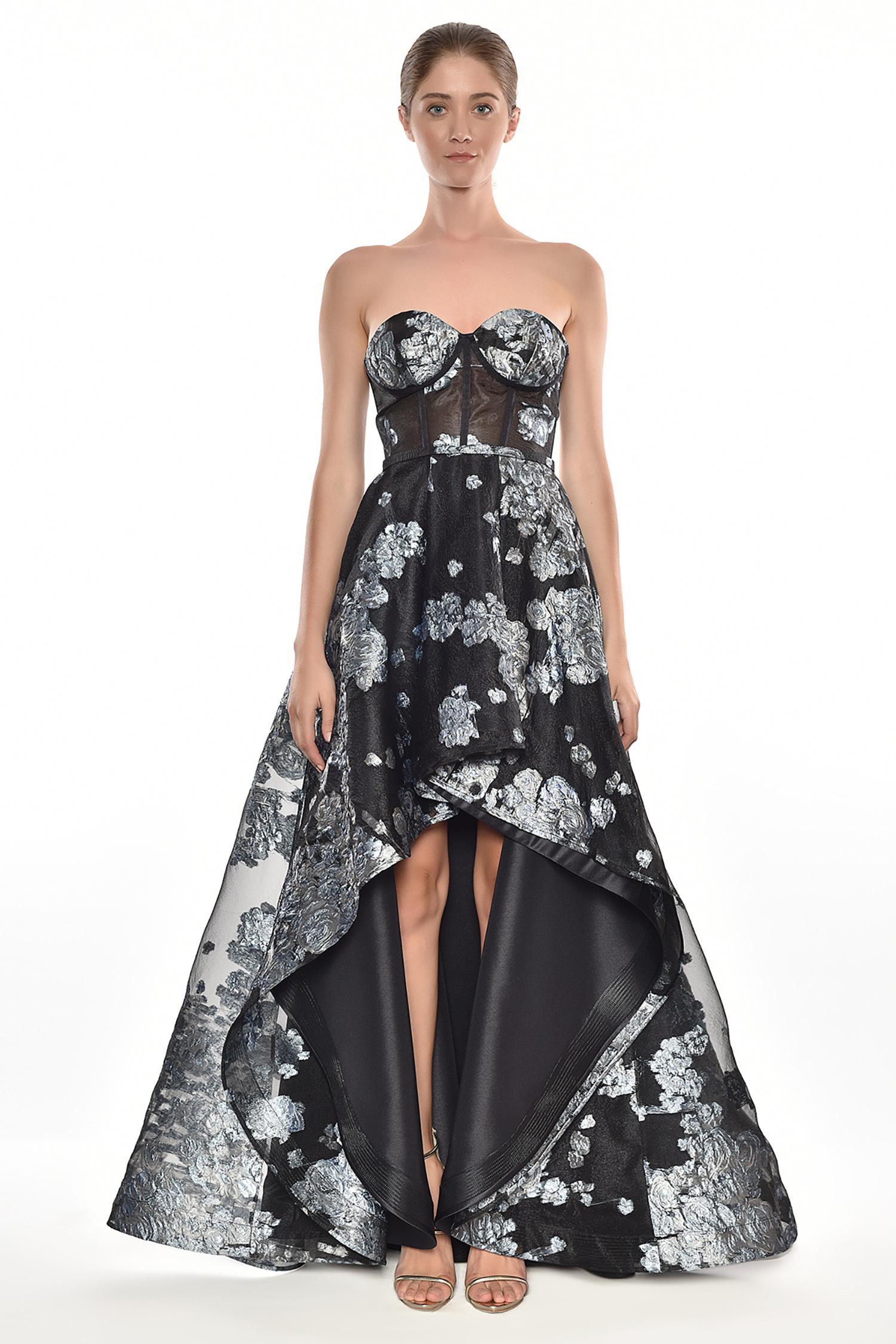 Alfa Beta - Siyah Mavi Desenli Straplez Önü Kısa Arkası Uzun Abiye Elbise