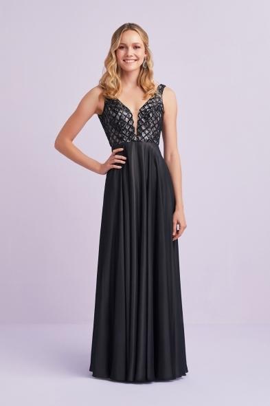 Viola Chan - Siyah Payet İşlemeli Askılı Saten Abiye Elbise