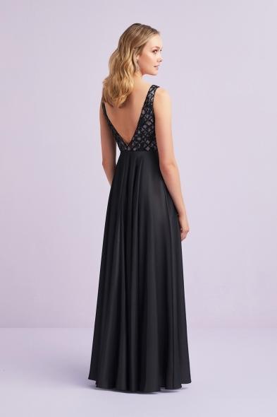 Viola Chan - Siyah Payet İşlemeli Askılı Saten Abiye Elbise (1)