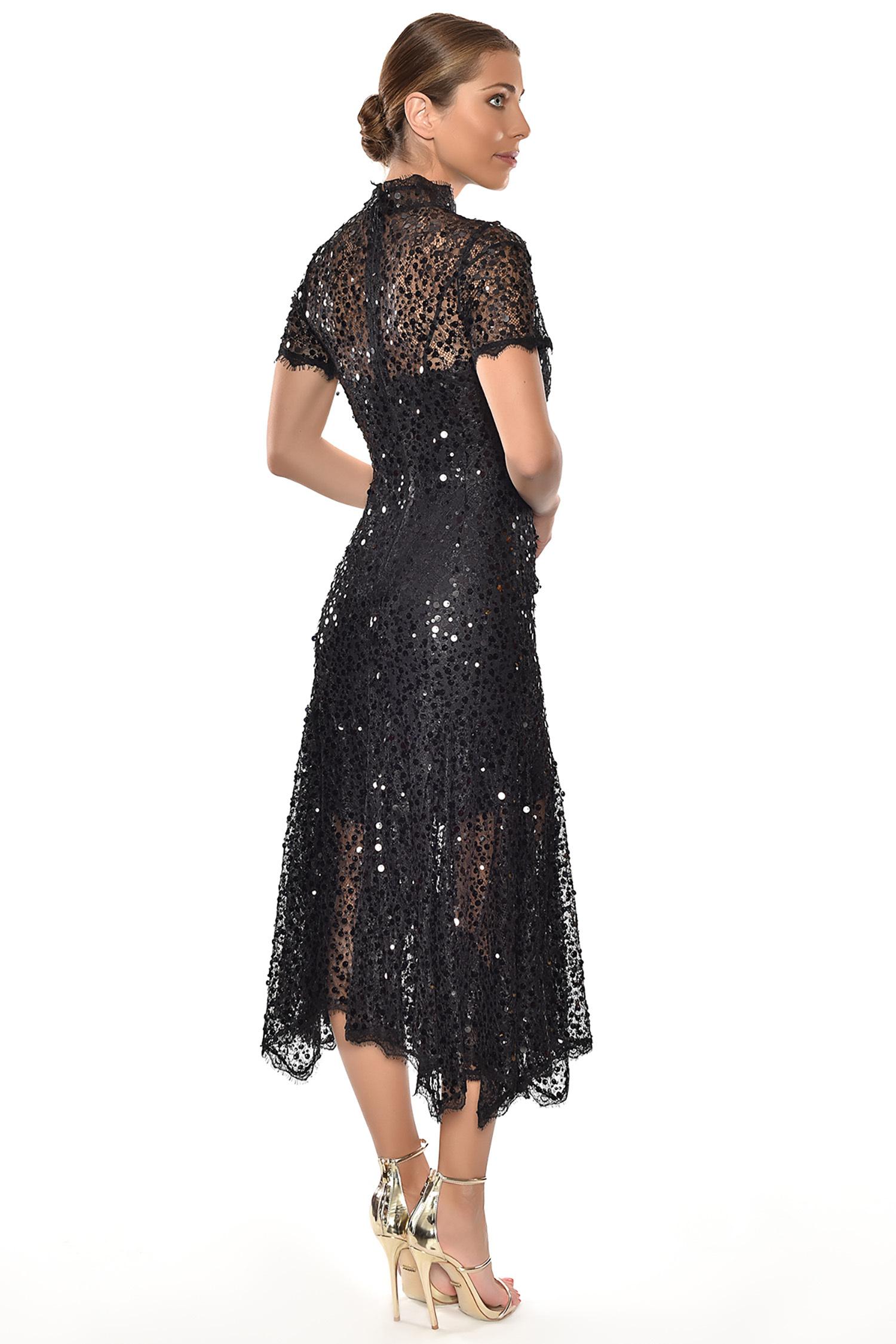Alfa Beta - Siyah Payet İşlemeli Kısa Kollu Yırtmaçlı Midi Boy Elbise (1)