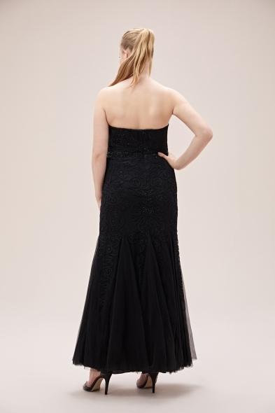 Viola Chan - Siyah Payet İşlemeli Straplez Uzun Büyük Beden Abiye Elbise (1)