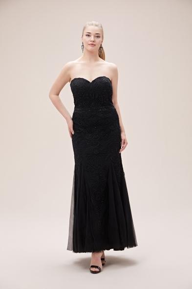 Viola Chan - Siyah Payet İşlemeli Straplez Uzun Büyük Beden Abiye Elbise