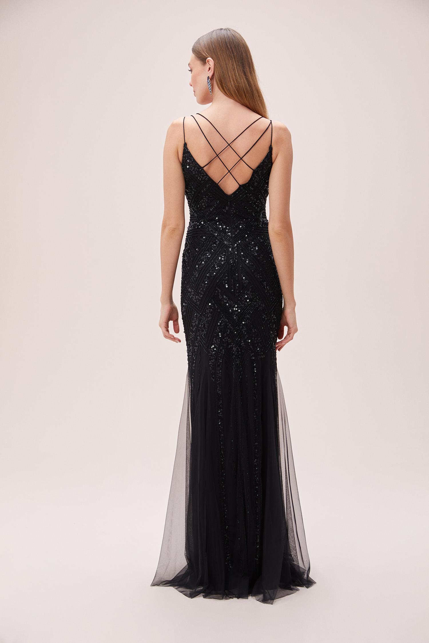 Siyah Payet İşlemeli V Yaka Askılı Abiye Elbise - Thumbnail