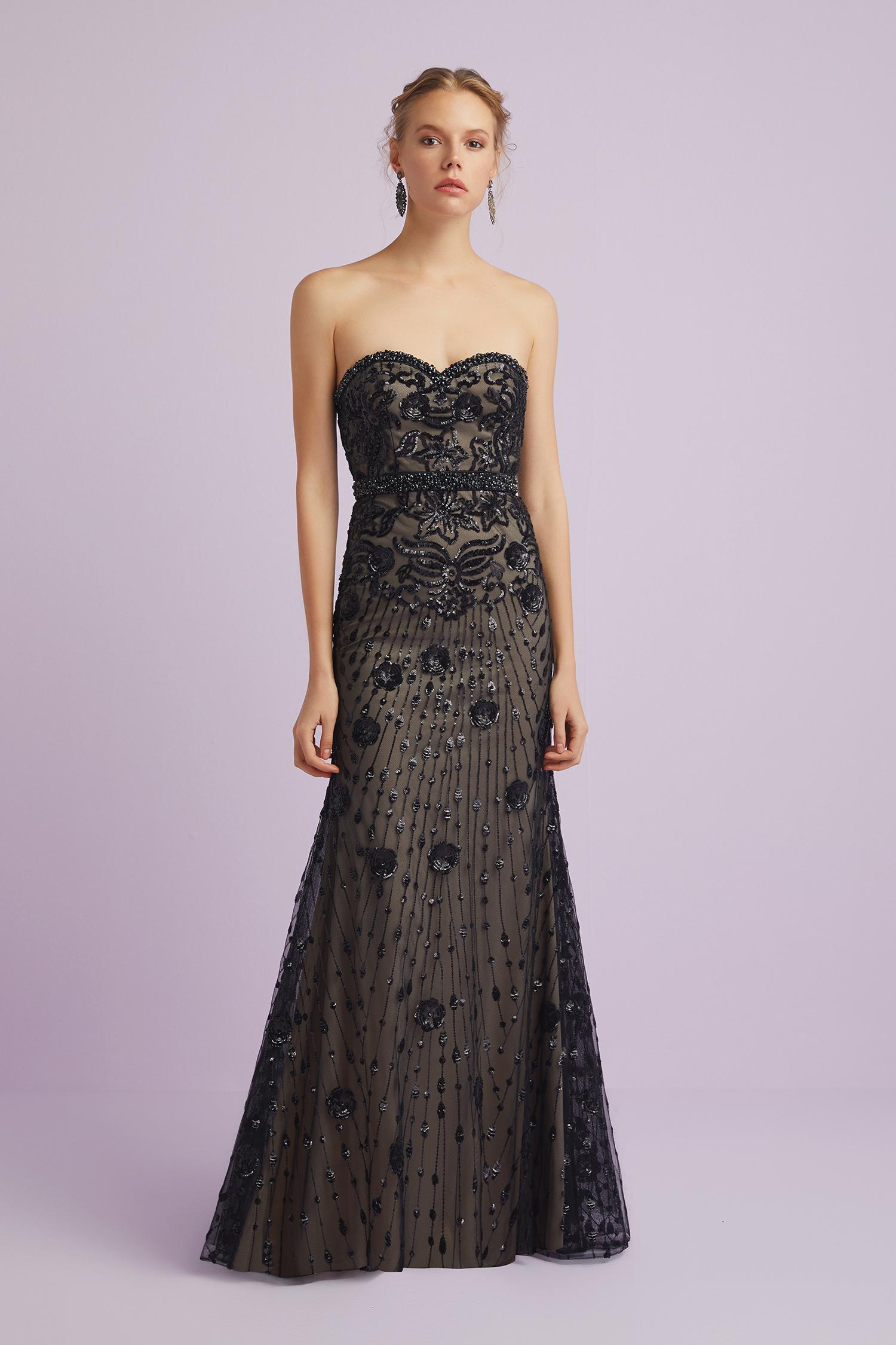 Siyah Straplez Dantel İşlemeli Uzun Abiye Elbise - Thumbnail