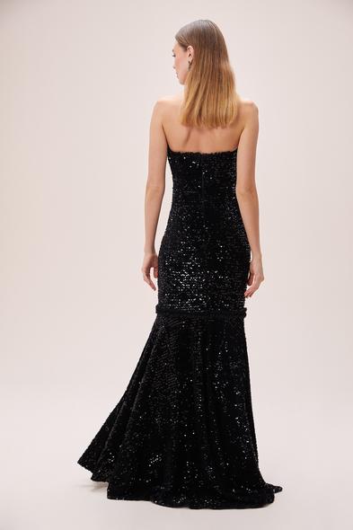 Viola Chan - Siyah Straplez Payetli Kadife Uzun Elbise (1)
