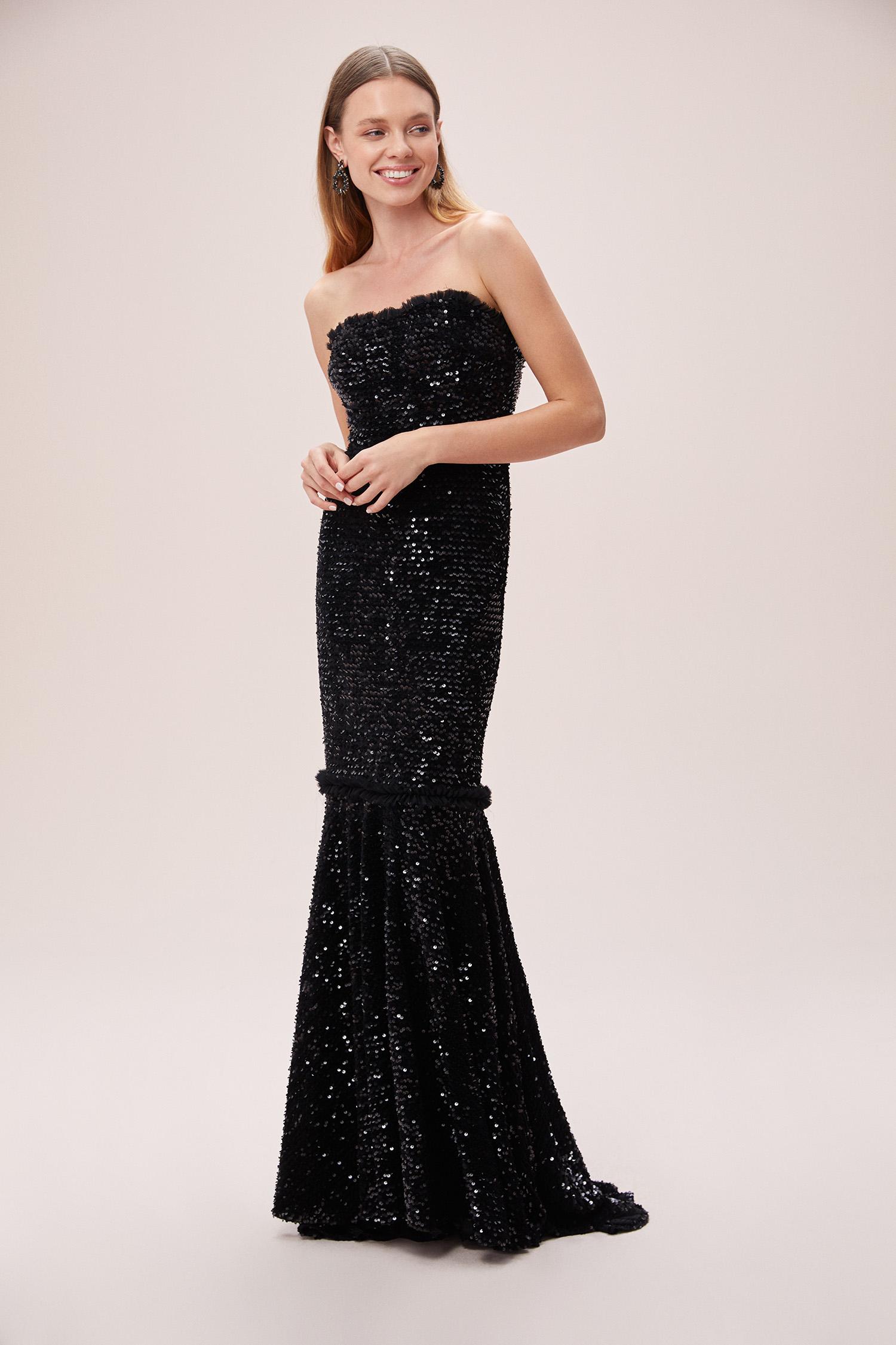 Siyah Straplez Payetli Kadife Uzun Elbise - Thumbnail