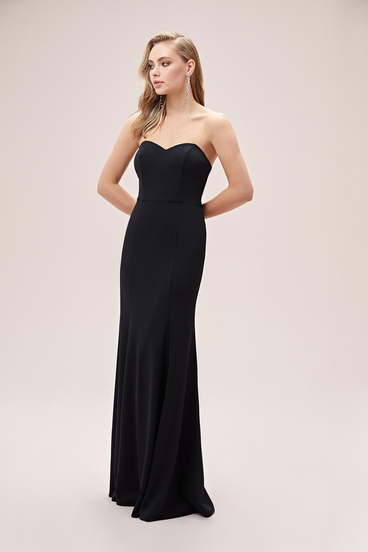 Siyah Straplez Uzun Krep Abiye Elbise - Thumbnail