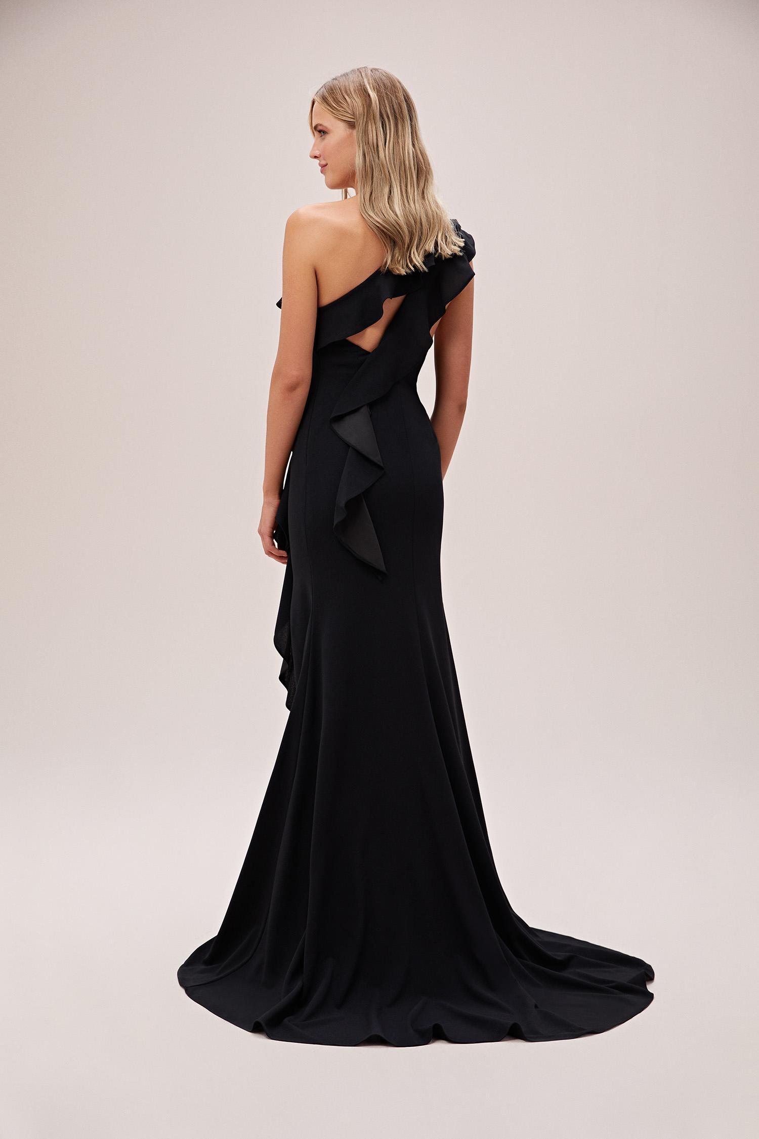 Siyah Tek Omuz Fırfırlı Yırtmaçlı Uzun Abiye Elbise - Thumbnail