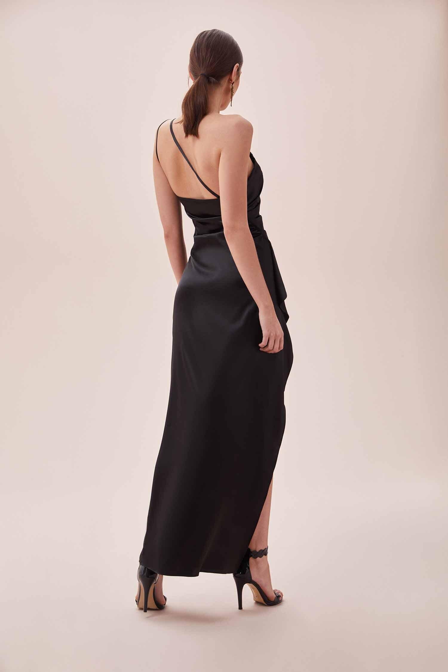 Siyah Tek Omuz Derin Yırtmaçlı Saten Elbise - Thumbnail