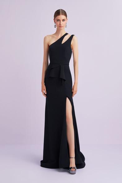 Oleg Cassini - Siyah Tek Omuzlu Krep Abiye Elbise