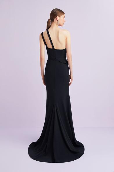Oleg Cassini - Siyah Tek Omuzlu Krep Abiye Elbise (1)