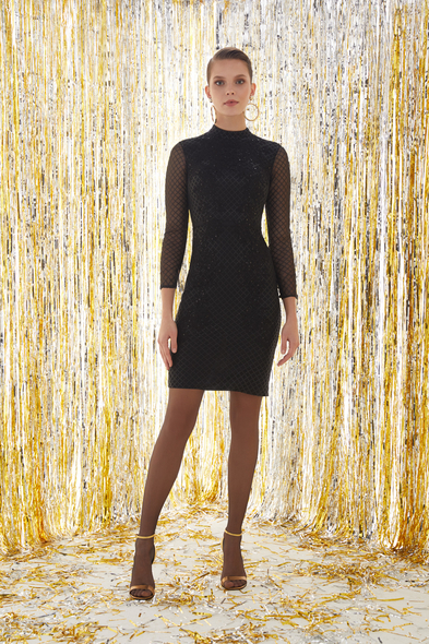 VC by Viola Chan - Siyah Uzun Kollu Mini Elbise