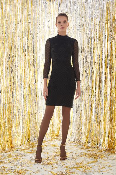 VC by Viola Chan - Siyah Dik Yaka Uzun Kollu İşlemeli Dar Kısa Elbise (1)