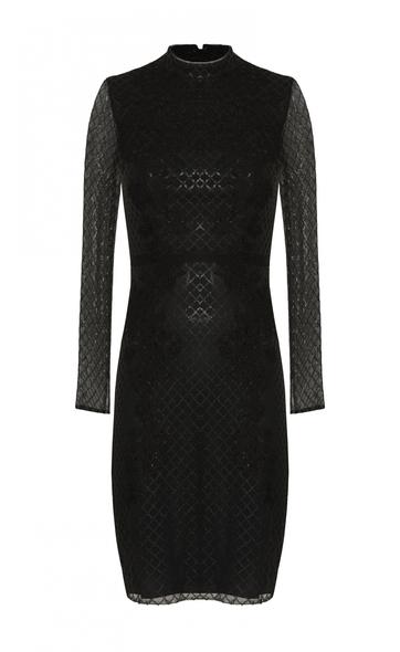 VC by Viola Chan - Siyah Dik Yaka Uzun Kollu İşlemeli Dar Kısa Elbise