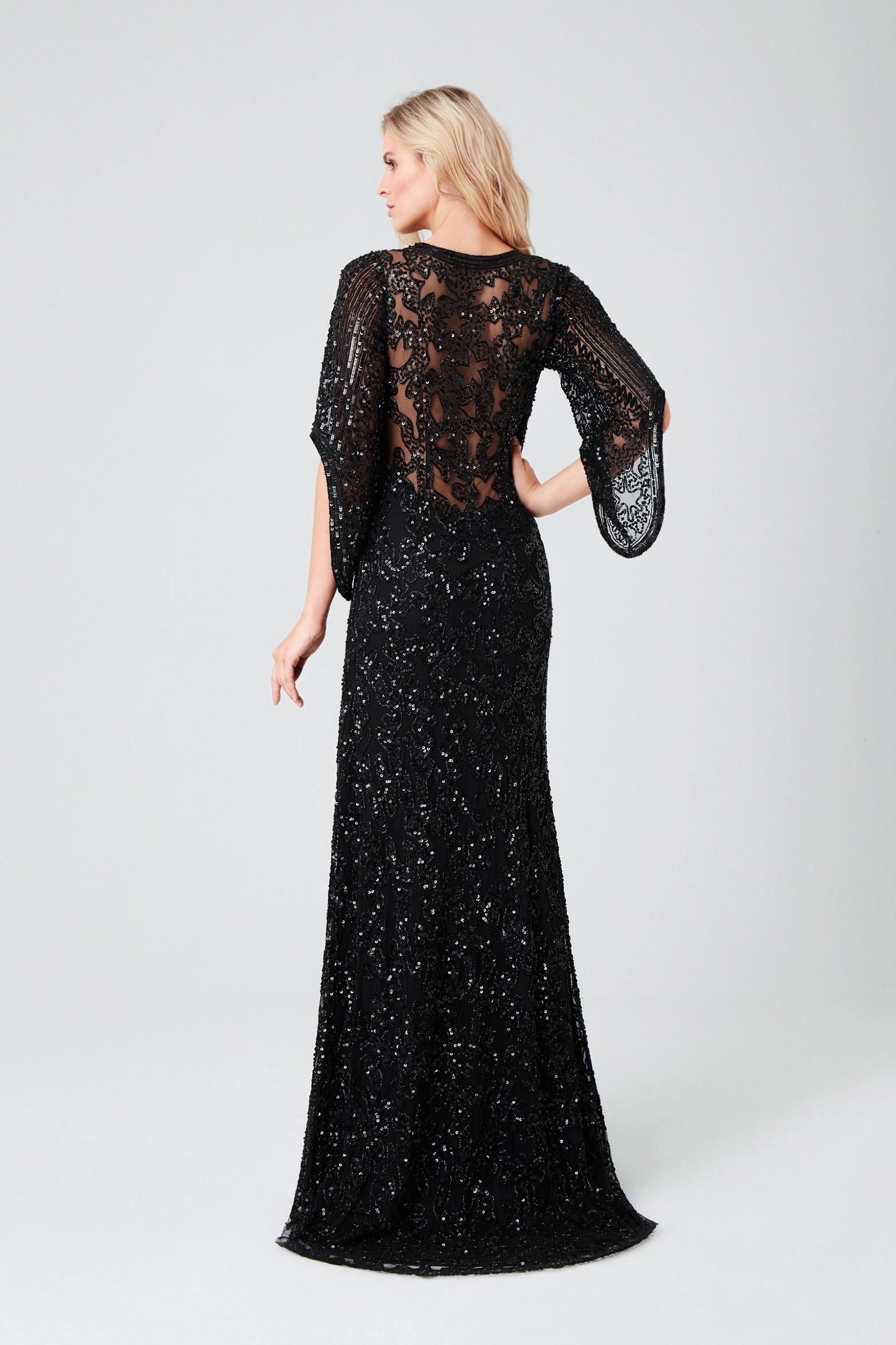 Siyah Uzun Kollu Payetli Abiye Elbise - Thumbnail