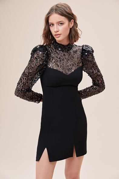 Alfa Beta - Siyah Uzun Kollu Pullu Jarse Mini Elbise