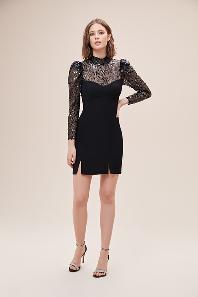 Alfa Beta - Siyah Uzun Kollu Pullu Jarse Mini Elbise (1)