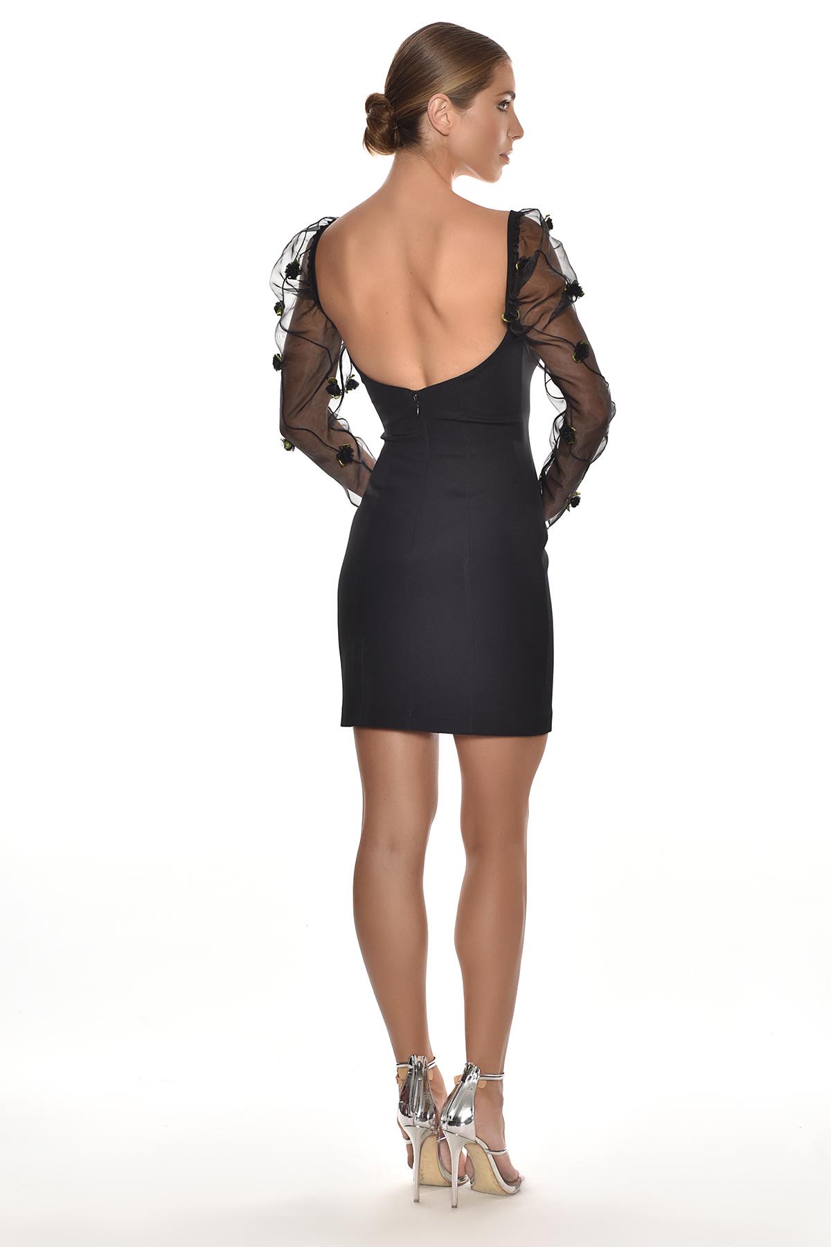 Alfa Beta - Siyah Uzun Tül Kollu Jarse Kısa Elbise (1)