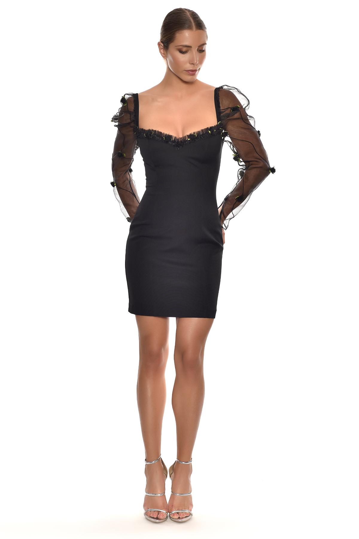 Alfa Beta - Siyah Uzun Tül Kollu Jarse Kısa Elbise