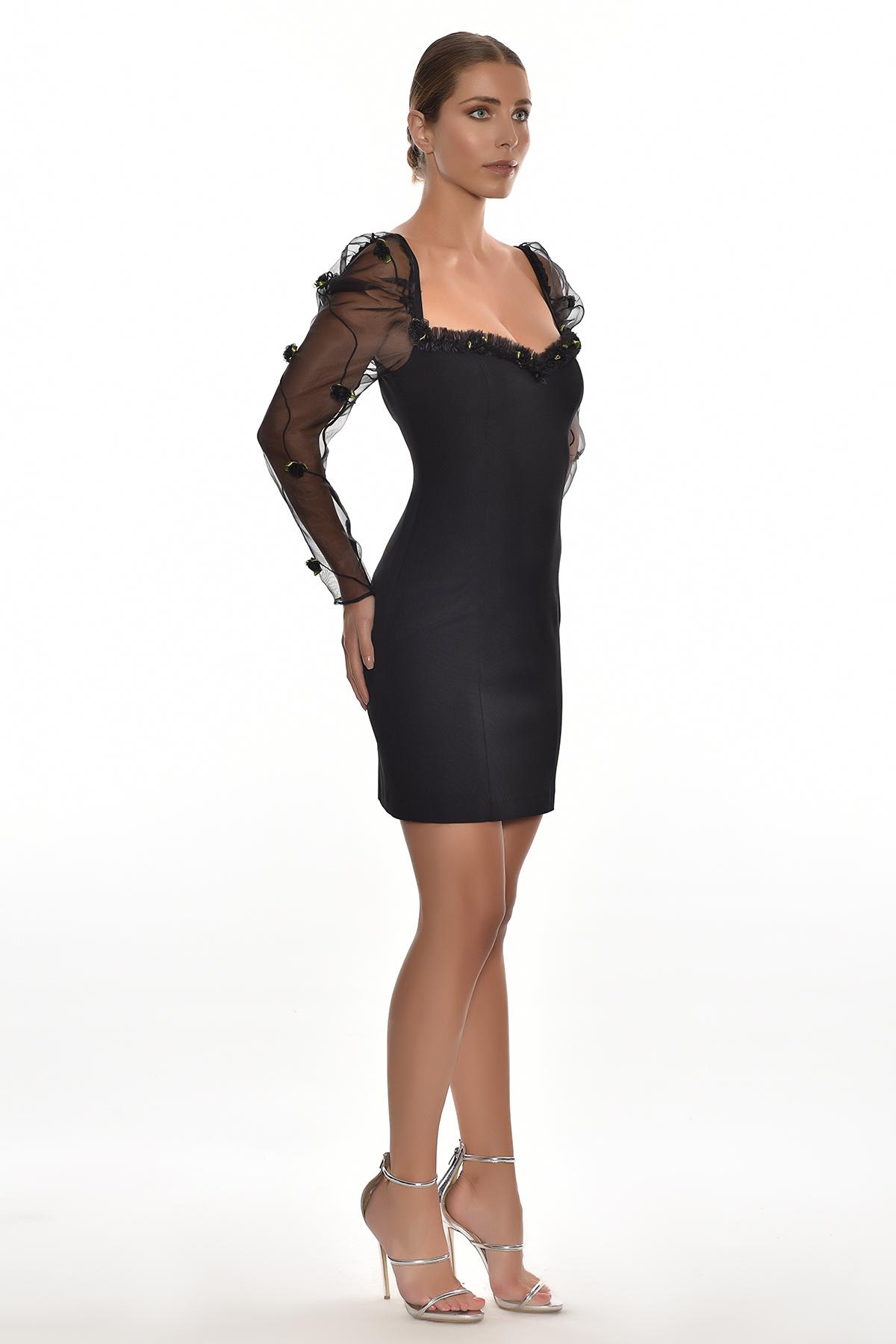 Siyah Uzun Tül Kollu Jarse Kısa Elbise - Thumbnail