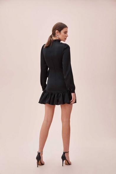 OLEG CASSINI TR - Siyah Yüksek Yaka Uzun Kollu Eteği Fırfırlı Mini Saten Elbise (1)