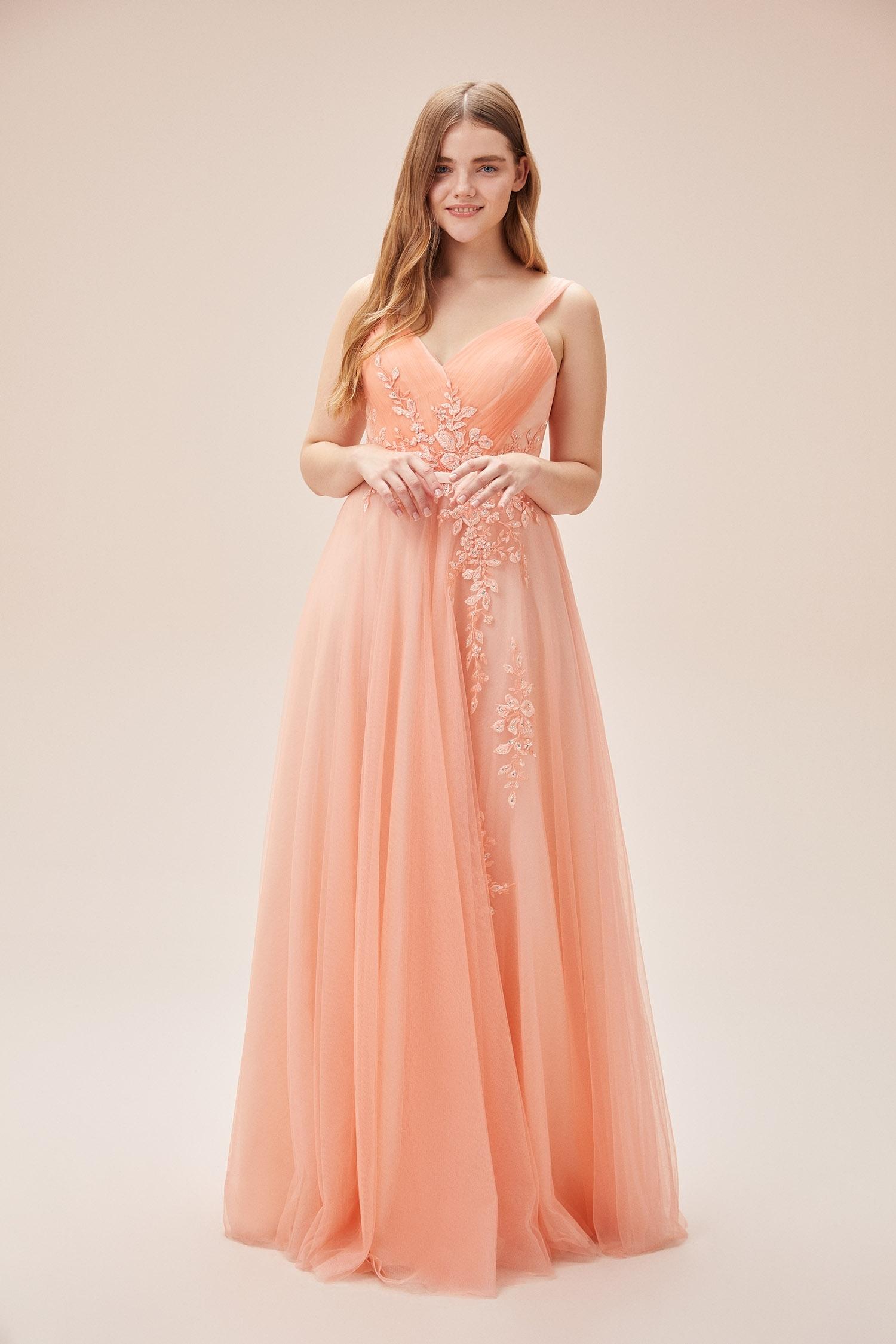 Somon Rengi Askılı Dantel İşlemeli Uzun Tül Büyük Beden Elbise - Thumbnail