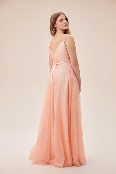 Viola Chan - Somon Rengi Askılı Dantel İşlemeli Uzun Tül Büyük Beden Elbise (1)