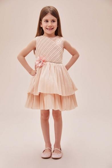 Pamina - Somon Rengi Askılı Kat Etekli Tül Çocuk Elbisesi