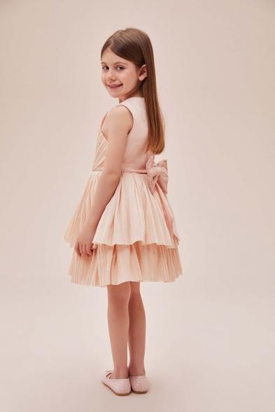Pamina - Somon Rengi Askılı Kat Etekli Tül Çocuk Elbisesi (1)