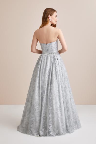 Viola Chan Premium - Straplez Payet İşlemeli Uzun Abiye Elbise (1)