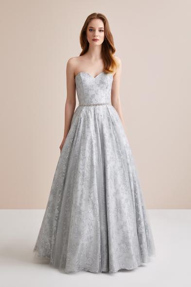 Viola Chan Premium - Straplez Payet İşlemeli Uzun Abiye Elbise