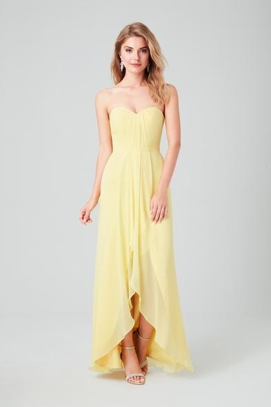 Sarı Straplez Şifon Kısa Gece Elbisesi