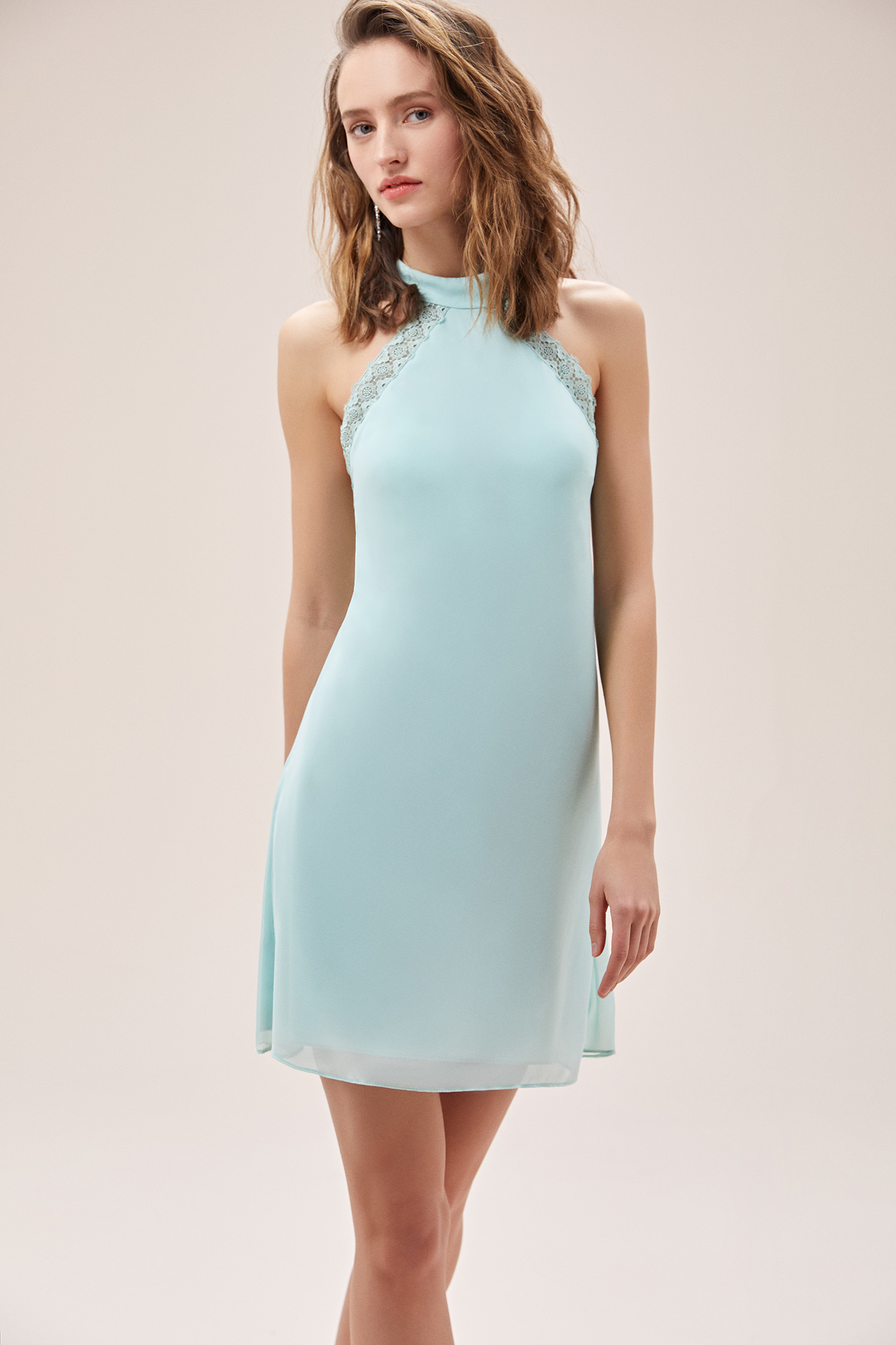Su Yeşili Halter Yaka Sırt Dekolteli Şifon Mini Elbise - Thumbnail