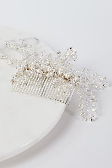 OLEG CASSINI TR - Taraklı Saç Tokası Gümüş Rengi İncili