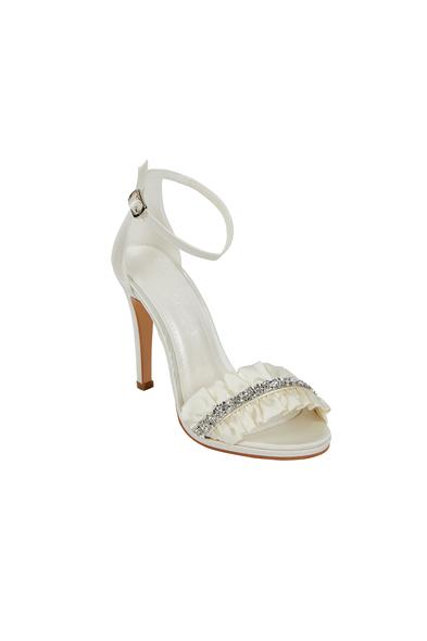 OLEG CASSINI TR - Taş İşleme Detaylı Kırık Beyaz Gelin Ayakkabısı