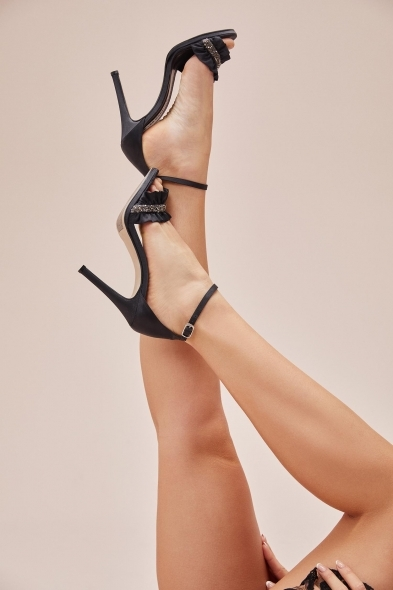 OLEG CASSINI TR - Taş İşleme Detaylı Siyah Renk Abiye Ayakkabı