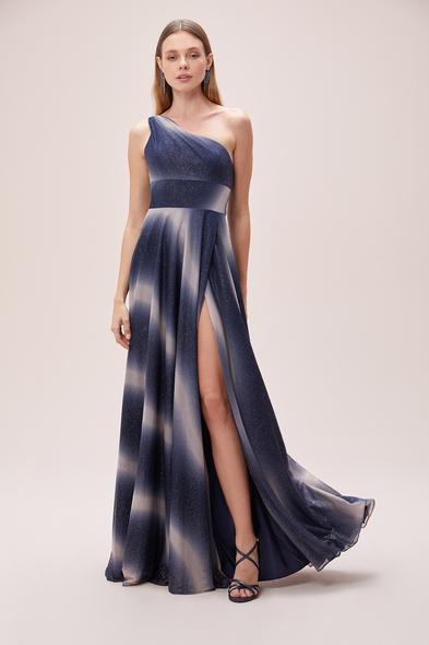 Viola Chan - Tek Omuz Sırt Detaylı Yırtmaçlı Simli Uzun Abiye Elbise (1)