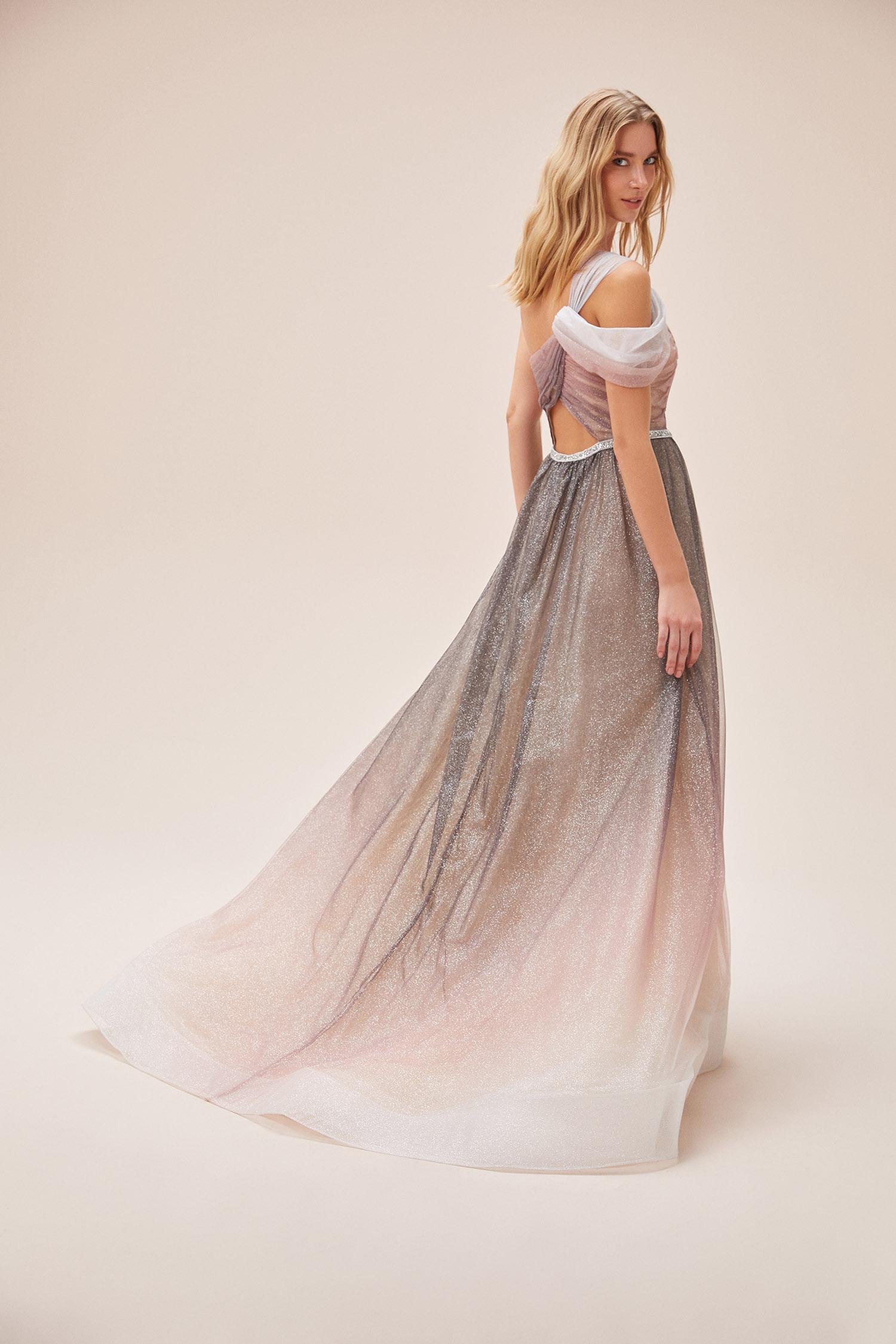 Tek Omuzlu Işıltılı Yırtmaçlı Uzun Romantik Abiye Elbise - Thumbnail