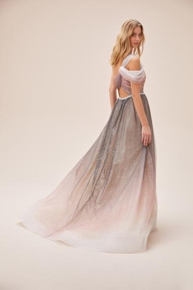 VCP - Tek Omuzlu Işıltılı Yırtmaçlı Uzun Romantik Abiye Elbise (1)