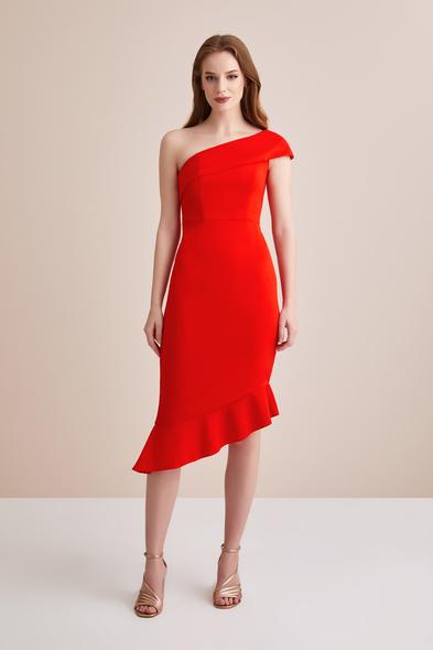 Turuncu Tek Omuzlu Krep Abiye Elbise - Oleg Cassini