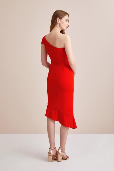 - Turuncu Tek Omuzlu Krep Abiye Elbise - Oleg Cassini