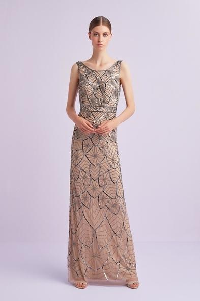 Ten Rengi Kalın Askılı Payet İşlemeli Uzun Elbise