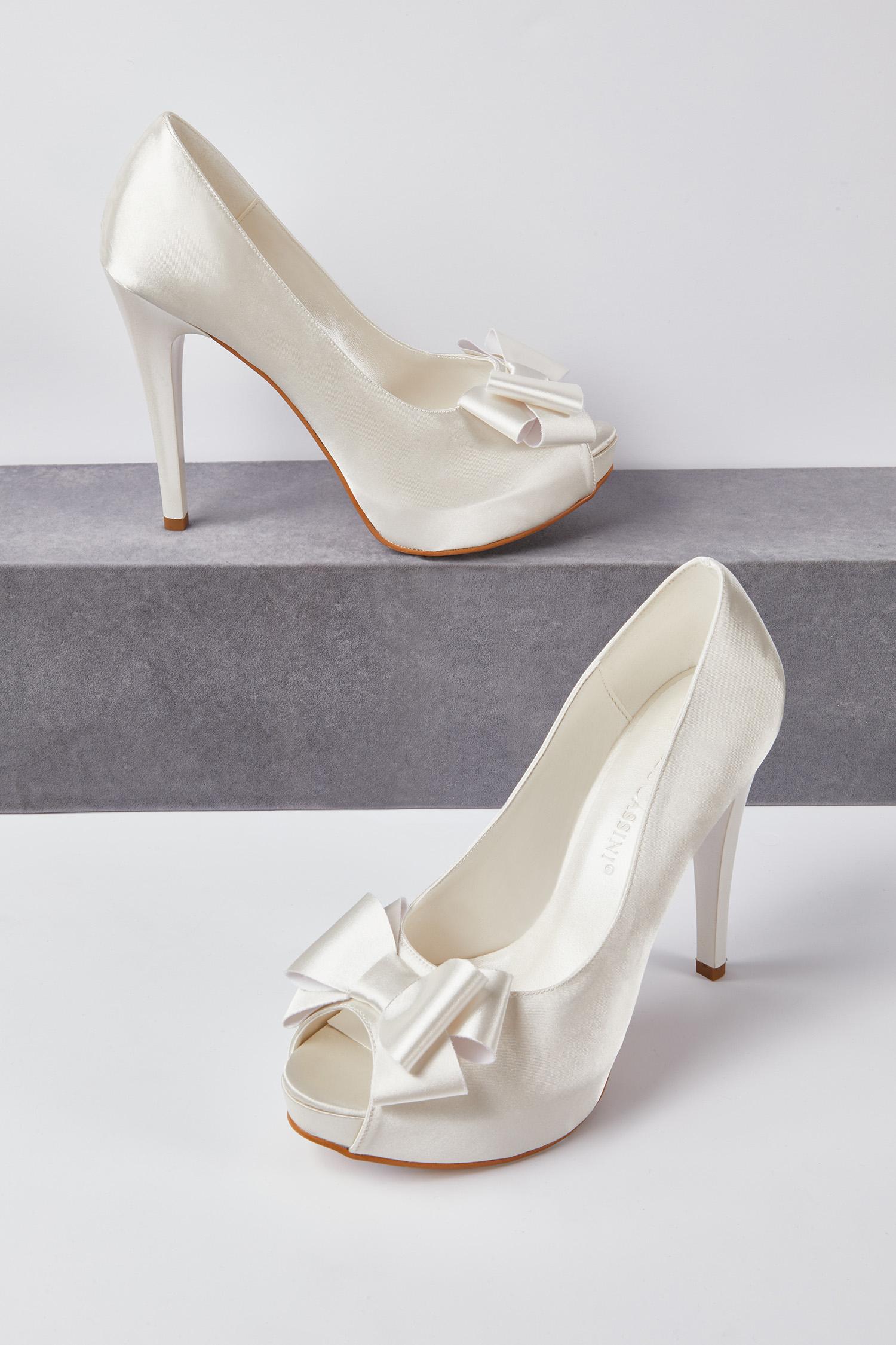 Topuklu Gelinlik Ayakkabısı Kırık Beyaz Saten