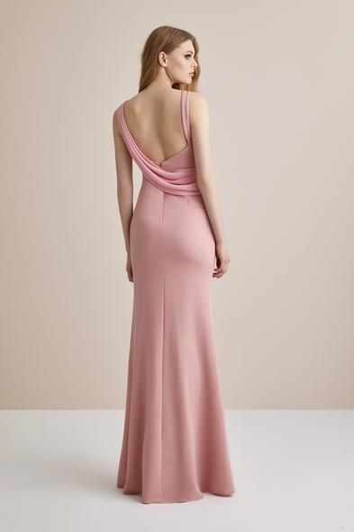 - Toz Pembe Askılı Krep Uzun Abiye Elbise - Oleg Cassini