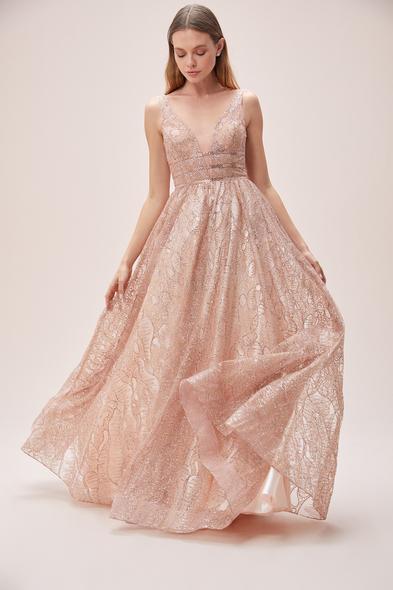 Viola Chan - Toz Pembe V Yaka Askılı Romantik Abiye Elbise